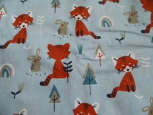 coton Oeko-Tex bleu petits renards