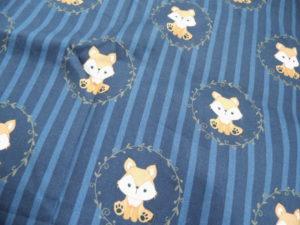 coton Oeko-Tex bleu marine petits renards