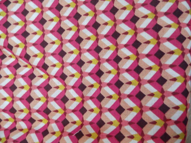 coton oeko tex géométrique rose jaune