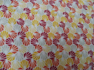 coton oeko tex petits motif jaune orange rose