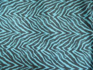 coton oeko tex zèbre noir et turquoise